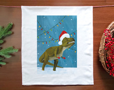 Holiday Dinosaur Lights Towel