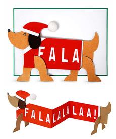 Fa La La Dog Concertina Card