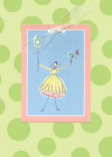 Balloon Girl Green Dots