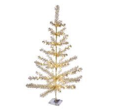 Silver Tinsel Tree with Lights
