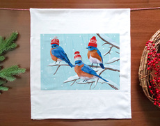 Three Bluebirds Holiday Towel