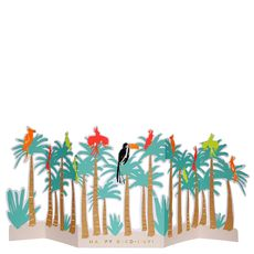 Tropical Bird Birthday Concertina Card