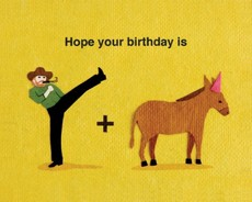 Kick Donkey Birthday Collage Card