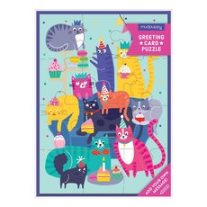Cat Party Puzzle Card
