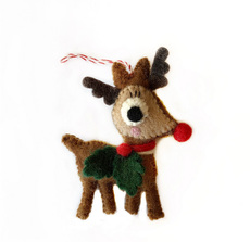 Rudolph and Holly Felted Ornament