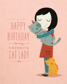 Cat Lady Birthday Collage Card