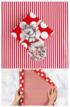 Red Dot & Stripe Reversible Wrap