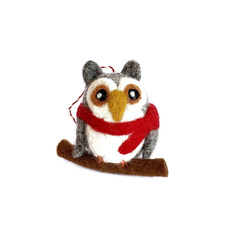 Owl Felted Ornament