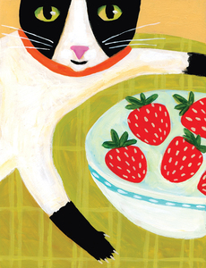 Cat with Strawberries