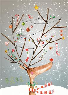 Party Reindeer Advent Calendar Card