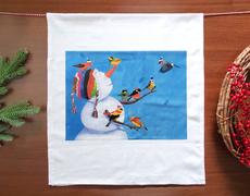 Birdies & Snowman Holiday Towel