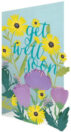 Daisies & Tulips Laser Cut Get Well Card