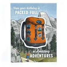 Backpacker Birthday Sticker Card