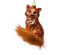 Fox Hand Blown Glass Ornament