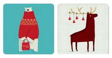 Polar Bear and Reindeer Coasters