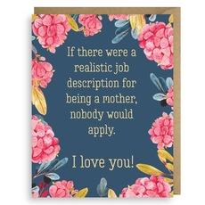 Mother's Job Description Card
