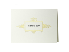 Ornate Gold Border Boxed Thank You Cards