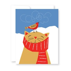 Cat with Singing Bird Holiday Boxed Cards