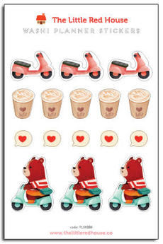Scooter Bear Latte Mini Stickers