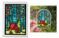 Camping Card and Vinyl Sticker