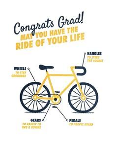 Graduation Bicycle Letterpress Card
