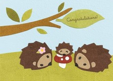 Hedgehog Family Collage Card
