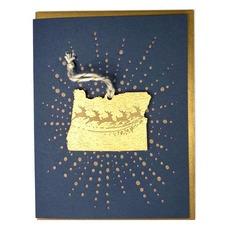 Oregon Reindeer Ornament Card