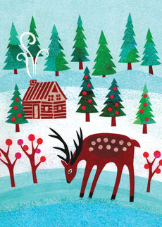 Deer and Cabin