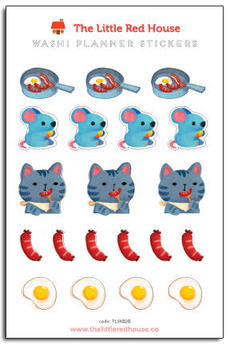 Breakfast Cat Mouse Mini Stickers