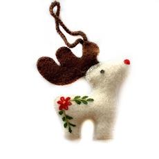 Nordic Reindeer Felted Ornament