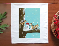 Three Chipmunks Holiday Towel
