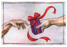 Michaelangelo Handing Gift