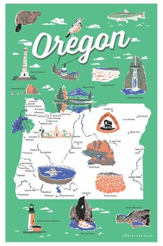 Oregon Map Icons Towel