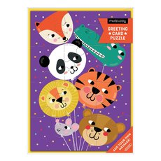 Safari Animal Balloons Puzzle Card