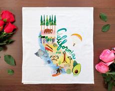 Watercolor USA: California Towel