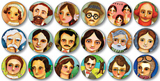 Great Authors Button Pack