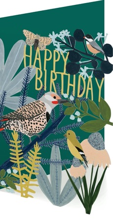 Chicago School Birds Laser Cut Birthday Card