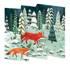 Fox and Cub Tri-Fold Boxed Cards