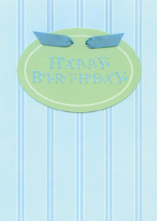 Oval Birthday Blue Stripes