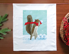 Squirrel Snowball Fight Towel
