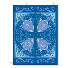 Four Dreidels Hanukkah Card