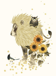 Lion with Owl