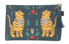 Fierce Felines Large Linen Zipper Pouch