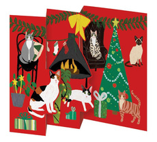 Fireside Cats Tri-fold Boxed Cards