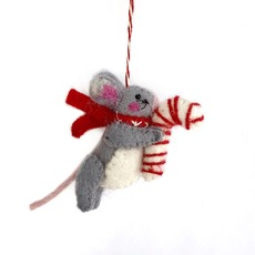 Mouse & Candy Cane Felted Ornament