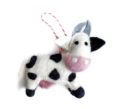 Cow Felted Ornament