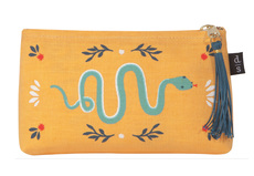 Fierce Snake Medium Linen ZIpper Pouch