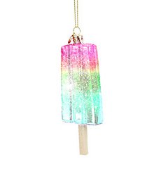 Pastel Glitter Popsicle Hand Blown Glass Ornament
