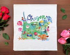 Watercolor USA: Oregon Towel