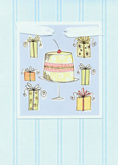 Cake & Presents Blue Stripes